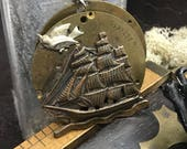 Steampunk pirate ship necklace pocket watch handcrafted artisan jewelry