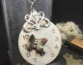 Victorian Butterfly Steampunk pocket watch handcrafted artisan jewelry necklace