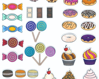 Sweet Delights stamp set. Customize your own donut, cupcake or candy. Plus cookie chocolate marshmallow lollipop macaroon