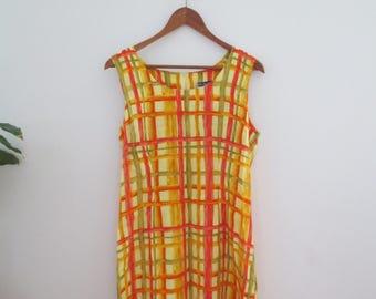 80s vintage yellow summer dress