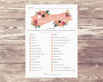 What's In Your Purse? Digital Download, Downloadable File What's in Your Purse?, Bridal Shower Game, Baby Shower Game, Baby Sprinkle Game
