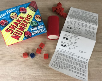 1950's Boxed Child's Game of Shake Numbers from Peter Pan