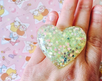 Shimmery Large Heart Resin Adjustable Ring