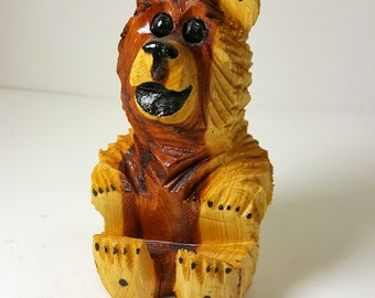 Vintage Small Carved Wooden Bear - Souvenir Wood Bear