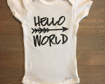 Hello World baby onesie ComingHomeOutfit//Arrows//Hippie//Boho