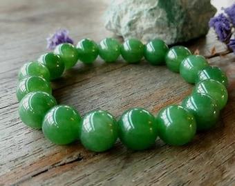 10 MM Green Jade Bead Bracelet