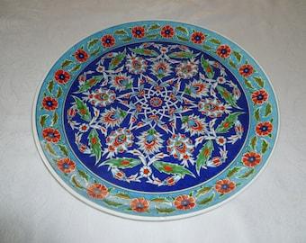 "Turkish ceramic plate, 16"" Platter, Iznik, floral design, red and blue, serving piece, dinner party, wall art, wedding gift, birthday"