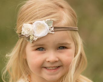 Newborn Photo Prop, Newborn Tieback, Baby Headband, Toddler Headband, Vintage Tieback, Infant Headband, Baby Tieback, Neutral Headband,