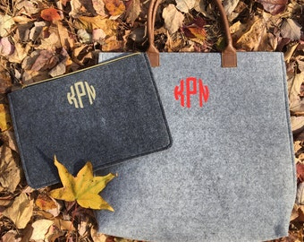 Monogrammed Wool Felt Tote or Clutch - Choose Your Monogram Style and Color - The Perfect Winter Accessory!