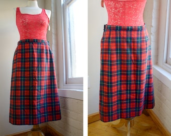Vintage Pendleton Plaid Skirt, 1960s Pendleton, Midi Red Plaid Skirt, Fully Lined, 100% Virgin Wool, Preppy A Lined Skirt, Size Large