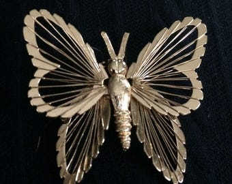 Vintage Monet Gold Tone Butterfly Brooch