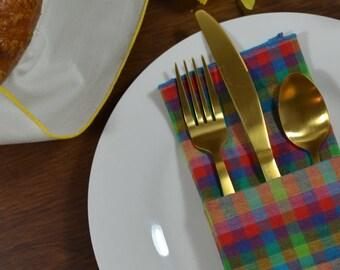 Rainbow Checked Linen Dinner Napkins, set of 4 // Linen Napkins // Easter Napkins // Wedding Napkins // Surged Edge Napkins