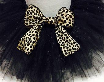 leopard tutu, black and leopard tutu, black glitter tutu, adult tutu, baby tutu, infant tutu, black tutu, leopard print tutu, chic tutu