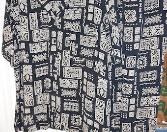 JM Collection Medium 2-piece Geometric Print Top Pant Blouse Slacks Set Black White