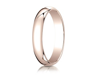 4MM Wide Classic Domed 14K Rose Gold band Men's or Women's Promise or Wedding Ring with Custom Engraving Half Round Style, Plain, Timeless