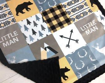 Personalized Baby Blanket Minky blanket bear arrows beige buffalo plaid lumberjack blanket, baby shower gift boy blanket, birth gift blanket