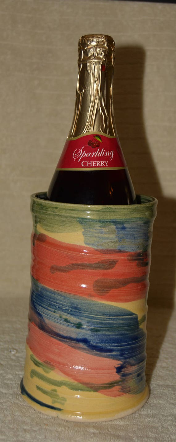 Wine Chiller, Red, Blue, Yellow, Green, Textured, Swirled, Stoneware, Ceramic, Kitchen, Home decor, Utensil Holder