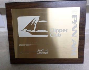 Vintage 1980 PAN AM Clipper Club Plaque