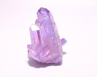 Purple Angel Aura Quartz Cluster Titanium Druzy Crystal Point Spirituality Wicca Healing Celestial