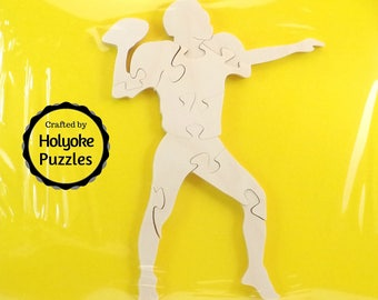 Football Player Wood Puzzle - Color Your Own Craft Puzzle - Kids Craft Project