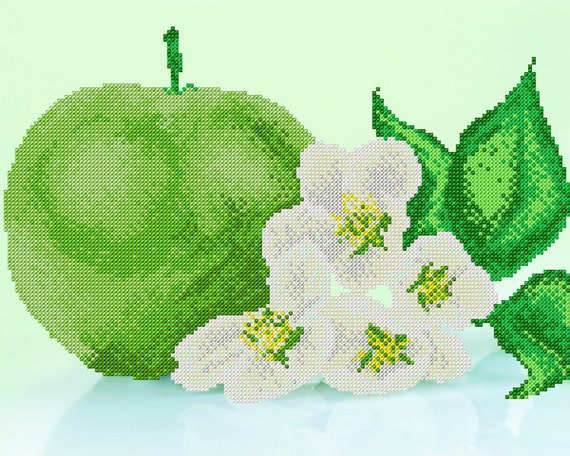 Green Apple Bead embroidery DIY set, wall decor, craft kit, house warming gift idea, needlework