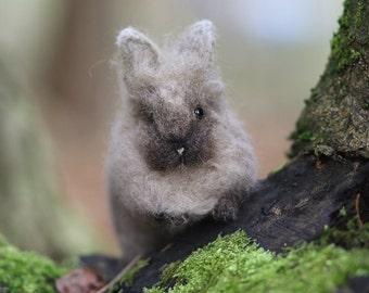 Mr. Lionbun the Needle felted Gray Bunny // Rabbit // Easter // Domestic // Poseable // Lionhead