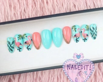 NAILED IT! Hand Painted False Nails - Tropical Flamingo