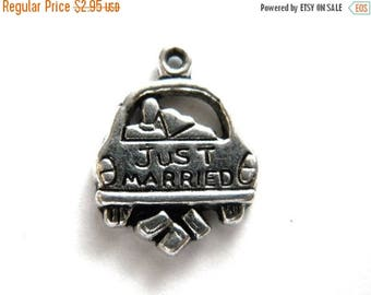 HALF PRICE 6 Silver Just Married Charms - Wedding Bridal Charm