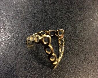 9ct gold hallmarked double wishbone ring