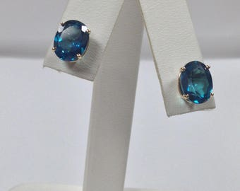 Natural Caribbean Topaz Stud Earrings Solid 14kt Yellow Gold