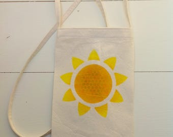 Simple cotton bag, stencilled sunflower design in yellow and green