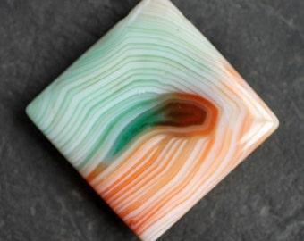 Orange & Green Banded Agate Pendant - 55mm x 55mm