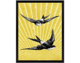Picture, print, swallows on sunburst wall art, illustration, poster,wall decor, A4, A3