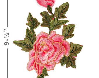 "Embroidered Rose Floral Iron-On Applique Patch, Embroidery Patch by 1 pc, 9-1/2"" tall, TR-11298"