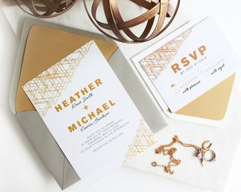 Modern White and Gold Geometric Wedding Invitation Suite// Modern Wedding Invitations. Bold Wedding Invitations. Classic Wedding Invitations