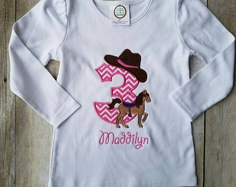 Cowgirl horse birthday shirt ponk and purple