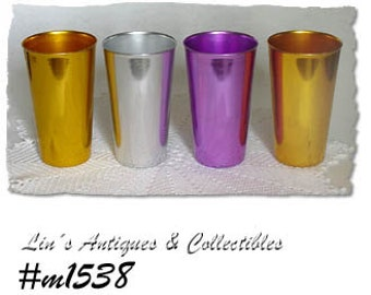 """Set of 4 Taller Size 5 14"""" Vintage Bascal Tumblers  (Inventory #M1538)"""