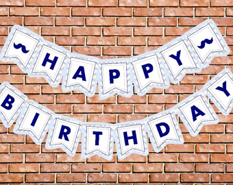 Little Man Birthday Banner Navy Light Blue Gray Chevron Birthday Banner Boy Birthday Banner Mustache Bash Banner Little Man First Birthday