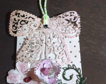 Large DECORATIVE floral gift tags. Set of FOUR floral pink gift tags. Wedding tags. Fancy tags. Gift. Card set 3x4