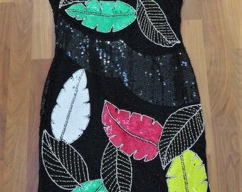 Vintage 1980s Silk Black Sequin Dress Glass Beads Fabulous