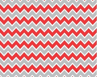 Red, grey and white chevron craft  vinyl sheet - HTV or Adhesive Vinyl -  zig zag pattern  HTV189