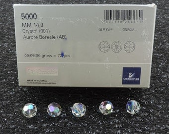 SWAROVSKI® Crystal 14mm Round Beads, Aurora Borealis, SIX(6)Article #5000 14MM Round Beads