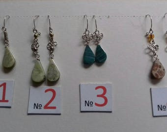 Silver Semi-precious stone Teardrop Earrings