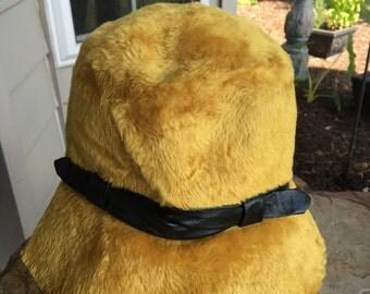 Vintage Betmar 1920s Cloche Flapper Felt Hat Golden Mustard Saffron Yellow