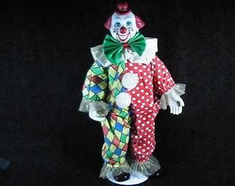 Vintage Circus Clown,  Handpainted, Clown Doll, Collectible Clown, Classic Clown, Circus Parade Clown Collection