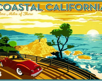 Coastal California Pacific Coast Highway 101 Poster Vintage Travel Repro Art Print 305