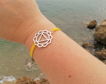 SOLAR PLEXUS Chakra bracelet in Tibetan silver and macrame cord. THIRD Chakra Bracelet. Handmade. Choose your color!