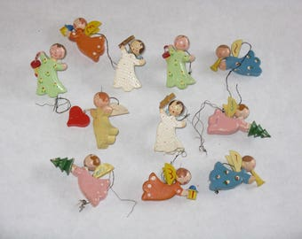 Set of 11 vintage wooden Christmas tree ornaments hand painted cherubs