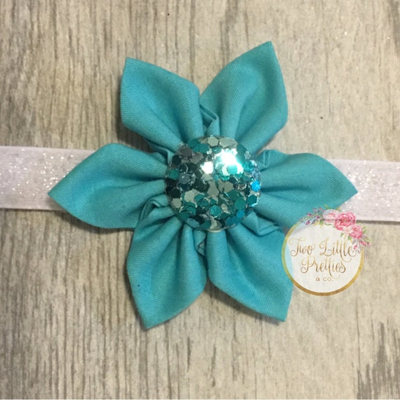 Large Teal Fabric Flower Headband with handplaced glitter centerpiece | Baby Girl | Hand Sewn