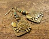 Turtle Earrings, Funky Fun Earrings, Bronze Earrings
